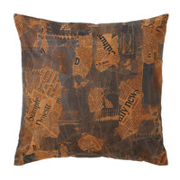 Harvey & Haley Decorative Real Leather Pillow with Newspaper Cut-Out Prints