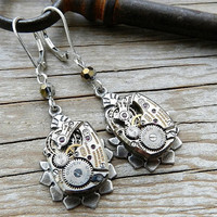 Steampunk Jewelry Silver Watch Movement by CompassRoseDesign