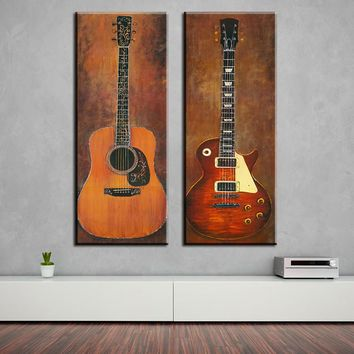 2 piece music studio room guitar top decorative wall paintings for home decor idea oil painting art print on canvas No Framed !