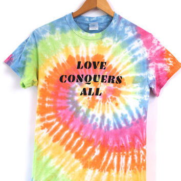 Love Conquers All Rainbow Pastel Tie-Dye Graphic Unisex Tee