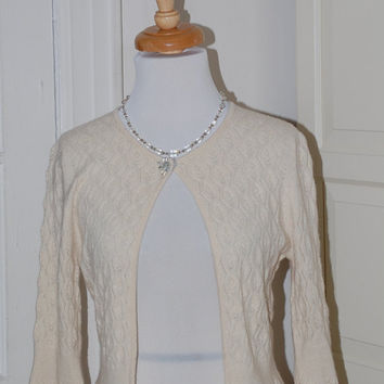 50s Style Pringle Cashmere Cardigan, Cream, Open Front, Beaded Closure, Open Front, Size