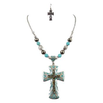 Bohemian Vintage Aztec Beaded Druzy Accent Cross Necklace and Earrings Set