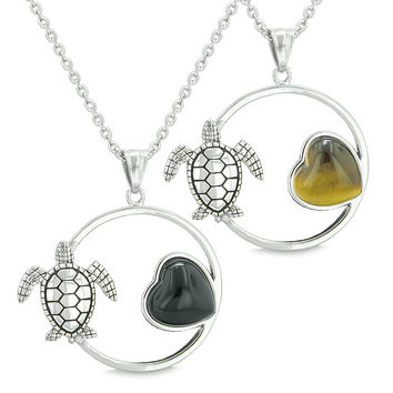 Amulets Cute Sea Turtles Love Couples Set Heart Simulated Onyx Tiger Eye Pendant Necklaces