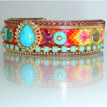 Boho Chic Friendship Cuff, Colorfull Statement Bracelet, Swarovski Rhinestone with Turquoise Gemstones, Maharaja inspired.