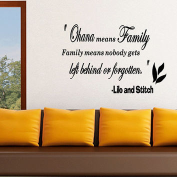 Ohana Means Family Lilo And Stitch Inspirational Quotes Wall Decal Large Size Vinyl Art (C167)