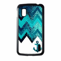 Chevron Navy Anchor Sparkly Nexus 4 Case