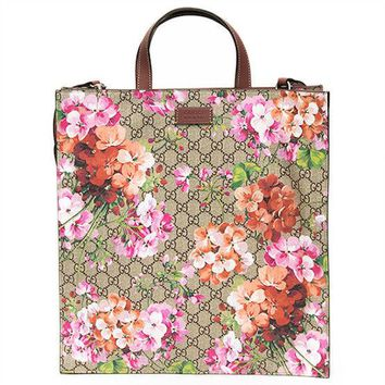 GUCCI Blooms GG Supreme Tote Bag Shoulder Purse Floral Flower Women Auth New