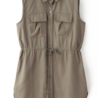 Coffee Pointed Flat Collar Sleeveless Vest