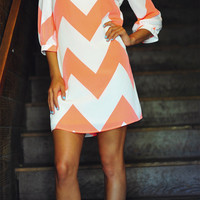 Wild Wide Chevron Dress: Neon Orange | Hope's