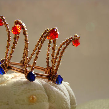 """Hair accessory """"I'm Princess Anna"""" - Princess crown - Queen crown - Bobby pin crown - Crown for dolls - Spring fashion - Wire wrapped crown"""
