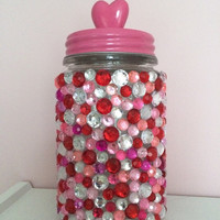 Valentine's Day Candy Jar with Heart Lid, Decorated with Rhinestones