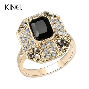 Kinel Crystal Ring Fashion Dubai Color Gold Vintage Jewelry Square Black Main Stone Rings For Women Love Gifts 2016 New