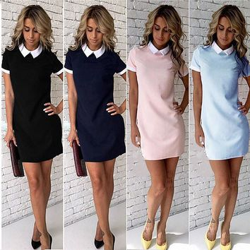 White Collar Summer Cute Peter Pan Collar School Preppy Style  Short Sleeve Summer Mini Dresses Ladies Office Vestidos