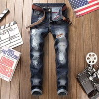 Slim Stretch Ripped Holes Embroidery Pants Jeans [1574710870109]
