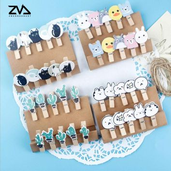 10 pcs/lot new listing cartoon animals Wood Clip Kawaii Photo paper Clothespin Craft Clips Party decoration Clip with Hemp Rope