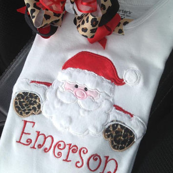 Personalized red and leopard Santa Clause Christmas bodysuit, tutu, and matching hairbow