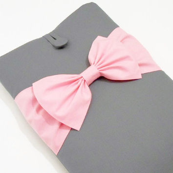 Custom Laptop Sleeve 15.6,Macbook Pro Case,14,15 inch Laptop Sleeve,15 inch HP Laptop Case,Dell Laptop Case, Lenovo Yoga Case- Grey,Pink Bow
