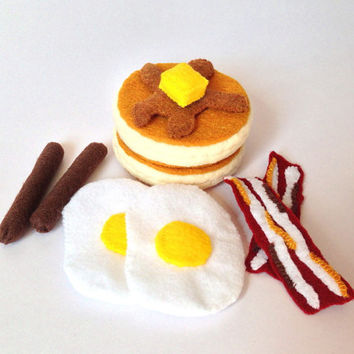 Felt food breakfast set - pancake, eggs, bacons, sausages - eco friendly children's pretend play food for toy kitchen