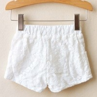 Tinna White Lace Shorts