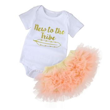 "6-24M ""NEW TO THE TRIBE"" Short Sleeve Onesuit with Tutu 2PC Set"