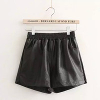 Black Faux Leather Elastic Shorts