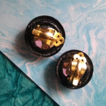 High End Headlight Rhinestone Vintage Earrings, Old Hollywood Glamour, Mid Century 1960's Fashion Collectible Costume Estate Jewelry