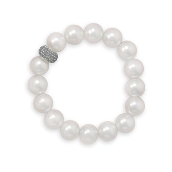 "7"" White Glass Pearl and Crystal Stretch Bracelet"