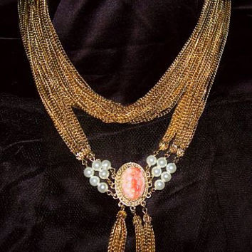 Victorian Festoon Necklace Coral Cameo Stone Tassel & Pearl Beads Brass Gold Strands Vintage