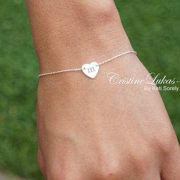 Hand Engraved Small Heart Initial Bracelet Crafted From Sterling SIlver