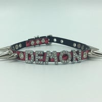 DEMON spiked faux leather collar