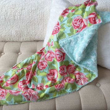 Monogram Aqua and Pink Rose Floral Baby Stroller Blanket