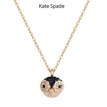 Kate Spade New fashion diamond owl pendant necklace women Golden