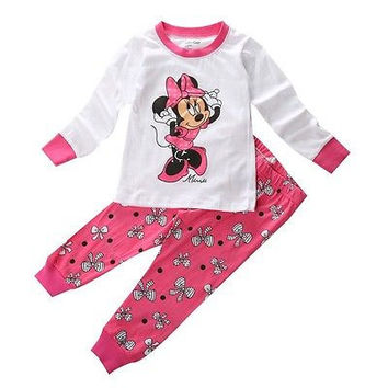 Spring Autumn Kids Baby Girls Boys Pajama Mouse Tops+Pants Set Sleepwear 2pcs Outfits Nightwear PJS Children's Pajamas sleepwear