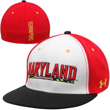 Under Armour Maryland Terrapins Sideline Performance Flex Hat - White