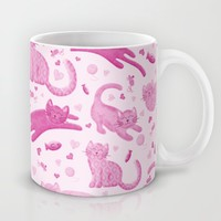 Pink Playful Kittens Mug by Noonday Design | Society6