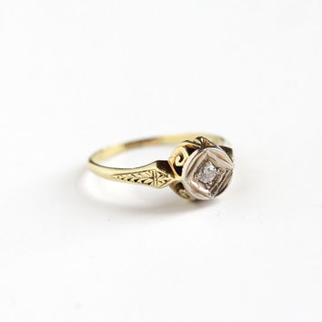 Antique 14k Yellow & White Gold Art Deco Diamond Ring - Size 9 Vintage Filigree 1920s 1930s Unique Wedding Engagement Fine Jewelry