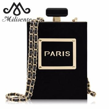 Milisente Women Clutch Purse Perfume Bottle Crossbody Bags Laides Black Acrylic Clutch Bag
