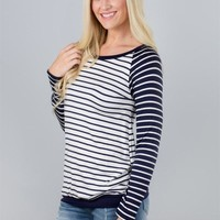 Color Contrast Striped Top