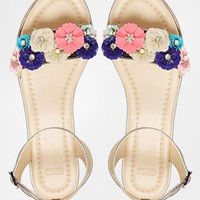 ASOS FAIRMONT Floral Embellished Leather Sandals