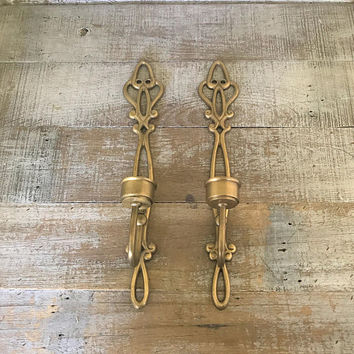 Candlesticks Brass Candle Sconces Brass Candlesticks Pair of Brass Sconces Ornate Brass Candle Holders Gold Candle Holders Wall Mount Candle