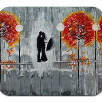 Mousepad Mouse Pad Fine Art Painting Autumn Rain Romance Modern Art Fall Trees Silhouette Couple Rainy Street Love Kiss Gray Grey Orange