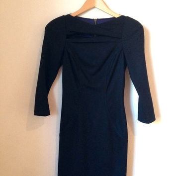 Dvf Black Arita Slashed Wool Dress (Diane von Furstenberg)