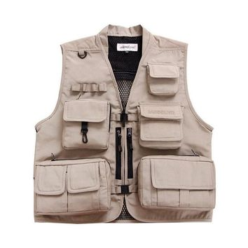 DCCKL72 Summer Fishing Vest Hunting Climbing Sports Multi-Pocket Waistcoats Breathable Mesh Outdoor Photography Men Jackets Clothes