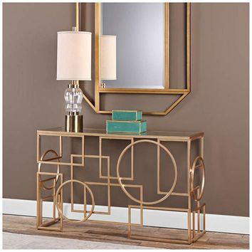 """Metria 52"""" Wide Glass and Gold Leaf Geometric Console Table - #18R56 