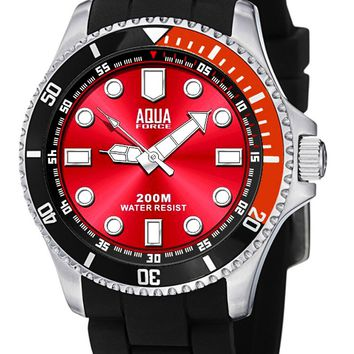 Aqua Force Red Face Sports Dress Diver Watch (200M water resistant)
