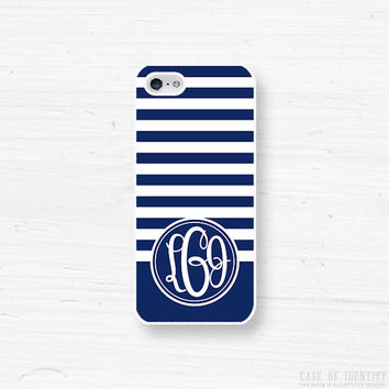Monogram iPhone 5, 4 Case - Samsung Galaxy s2 s3 s4 note, Ipod Touch 4, 5, Blackberry - striped - cobalt nautical blue white