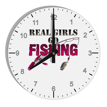 """Real Girls Go Fishing 8"""" Round Wall Clock with Numbers"""