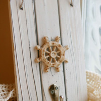 Nautical Ship Wheel Wall Hanging, Coat Hanger, Cottage Chic Decor.