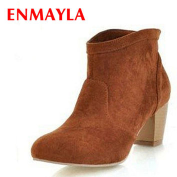 Women's Suede Leather Pull On Classic Thick Heel High Western Ankle Boots