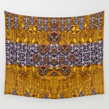 Golden metal and tulips Wall Tapestry by Pepita Selles